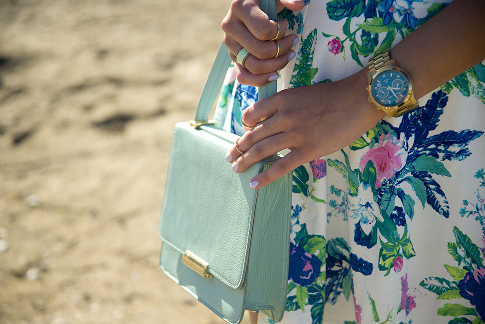 Salt and Shimmer, Vancouver, Trinidad, Trinidad and Tobago, blogger, lifestyle, fashion, beach, Forever 21, H&M, Michael Kors, Aldo, florals, floral skirt, ballet flats, statement necklace, fashion watch, sand, water, sea, ocean