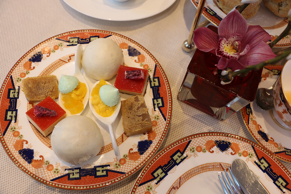 Salt and Shimmer, Vancouver, Trinidad, Trinidad and Tobago, blogger, lifestyle, fashion, tea, high tea, Forever 21, Aldo, Hotel, The Shangri-la, Shangri-la, blue willow china, piano, sandwiches, desserts, scones, loose-leaf, loose leaf, leather skirt, leather, skirt, statement necklace, booties, crop top, desserts, coconut, bun, mousse, meringue